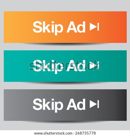 Colorful set of skip ad buttons - stock photo