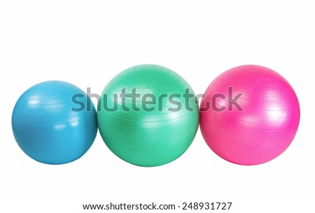 Colorful set of workout balls  for health club