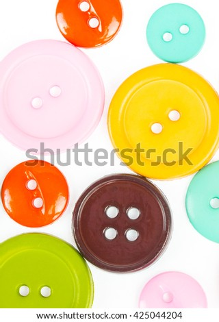 Colorful Sewing buttons, Plastic buttons, Colorful buttons background, Buttons close up, Buttons background - stock photo