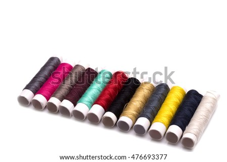 Colorful Sewing thread isolate on whith background