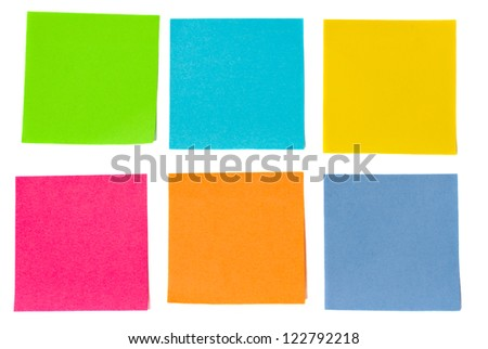 colorful sheets of paper isolated on white background - stock photo