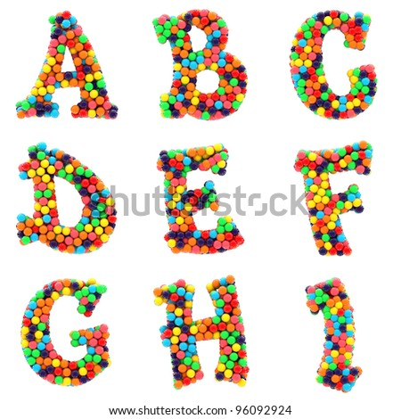 Colorful shiny candy alphabet A to I