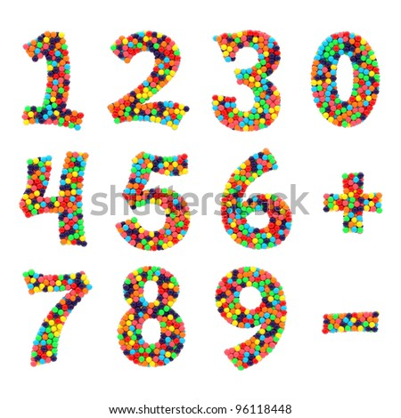 Colorful shiny candy alphabet numbers