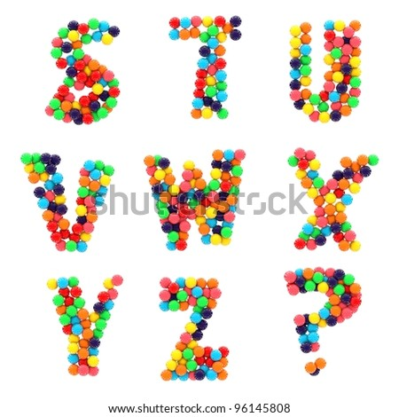 Colorful shiny candy alphabet S to Z