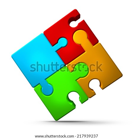 Colorful shiny puzzle isolated on white background 3d