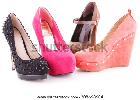 Colorful shoes isolated on white background. - stock photo