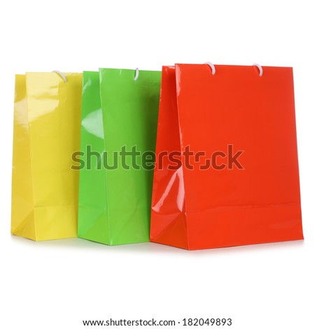 Colorful shopping bags, isolated on a white background
