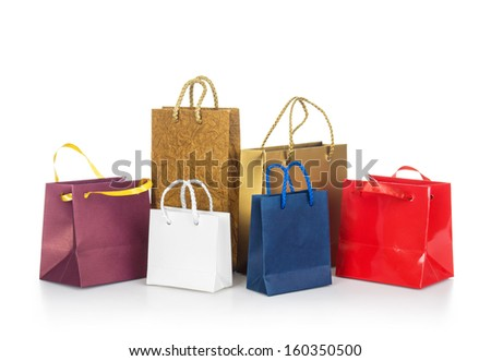 colorful shopping bags isolated on white