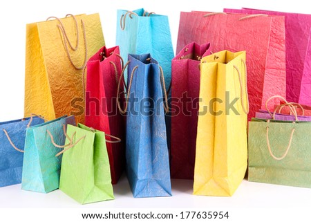 Colorful shopping bags, isolated on white - stock photo