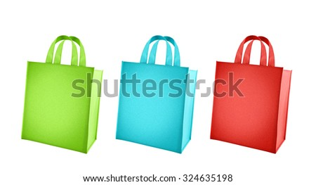 Colorful shopping bags isolated on white background. Three shopping bags with various colors-green,blue and red. - stock photo