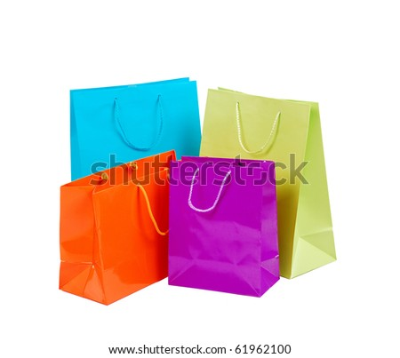 Colorful shopping bags on isolated white background