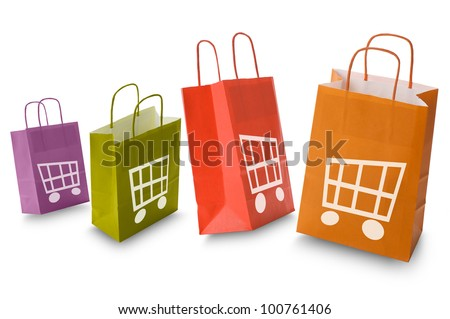 colorful shopping bags with e-commerce icon, isolated on white