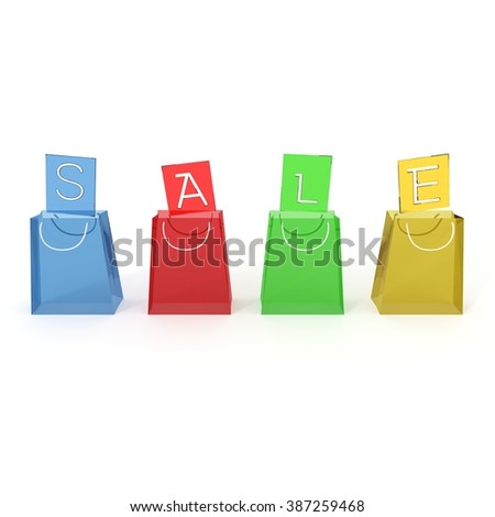 Colorful shopping bags with sale text commerce 3d illustration
