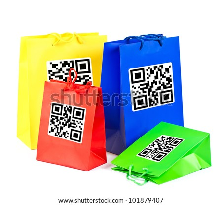 colorful shopping bags with sample product QR code.  not working QR codes
