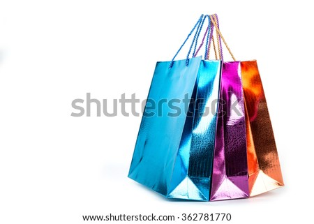 Colorful Shopping bags with white background.