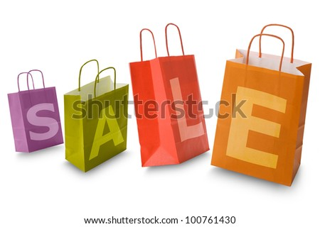 colorful shopping bags with written sale, isolated on white