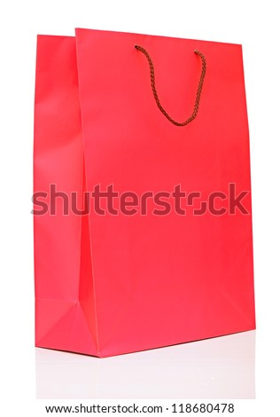 colorful shopping red bag isolated on white background - stock photo