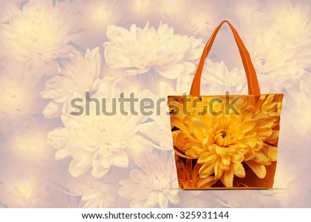 Colorful shopping, traveling  tote bags  pattern with floral design on soft blur style background.  Chrysanthemums fantasy texture. Autumn collection