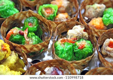 Colorful shrimp dumplings in a market - stock photo