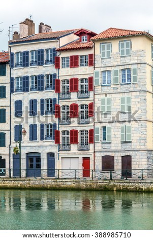 Colorful Shutters of Typical Old Homes, Bayonne, France - stock photo