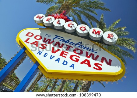 Colorful sign reads ��Welcome to Fabulous downtown Las Vegas, Nevada�. - stock photo