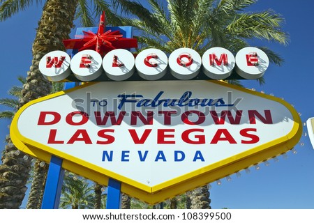 Colorful sign reads �Welcome to Fabulous downtown Las Vegas, Nevada� . - stock photo