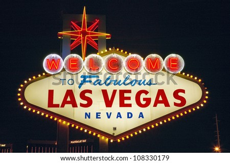 Colorful sign reads ��Welcome to Fabulous Las Vegas, Nevada�.