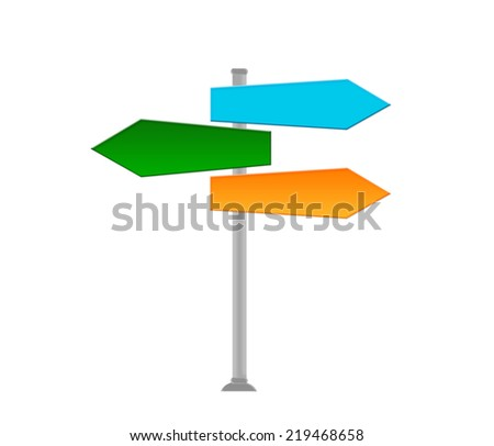 Colorful signal directions in blue, green and orange colors - stock photo