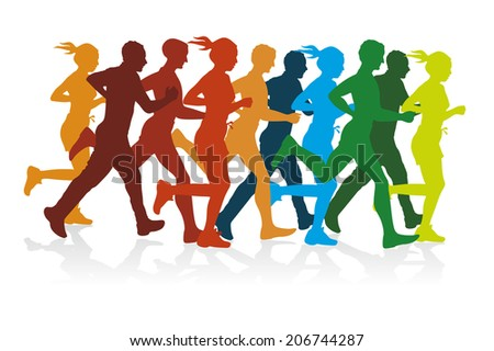 colorful silhouettes of a group of runners