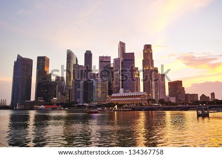 Colorful Singapore downtown at sunset