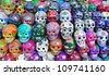 Colorful skulls from mexican tradition - stock photo