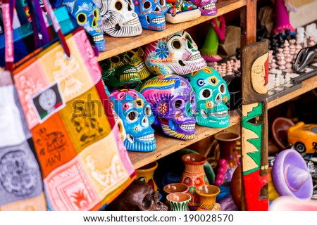 Colorful skulls souvenirs in Playa del Carmen, Mexico - stock photo