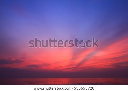 Colorful sky and the sea reflected in morning time before sunrise