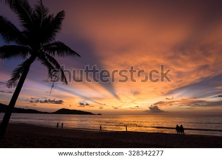 Colorful sky in Patong beach