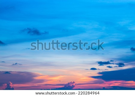 Colorful sky in twilight time - stock photo