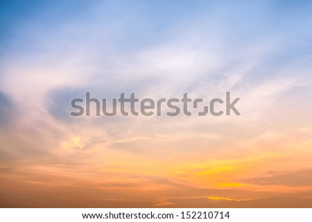 Colorful sky in twilight time background - stock photo
