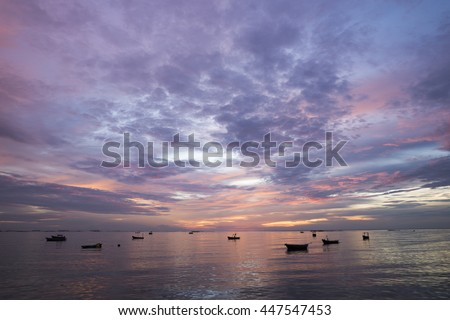 Colorful sky over the sea in sunset.