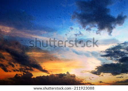 colorful sky texture and clouds on the wall background - stock photo