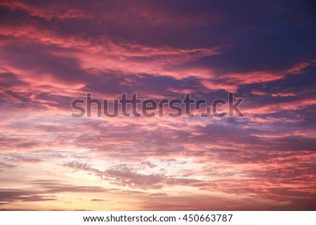 colorful sky with cloud at sunset.