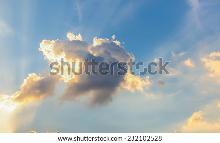 Colorful sky with clouds. - stock photo