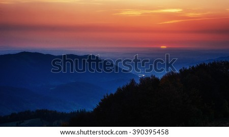 colorful sky with sun background in mountains. sunset, sunrise. Ukraine. Europe