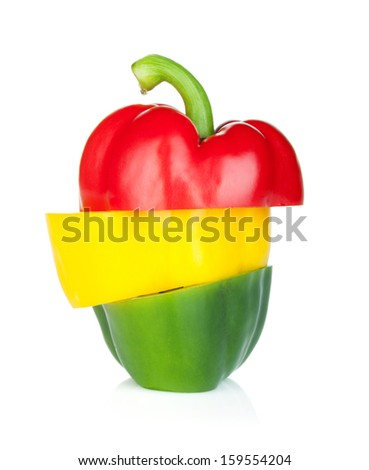 Colorful sliced bell pepper. Isolated on white background