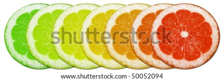 colorful slices isolated on white background