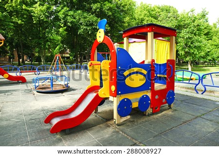 Colorful slide on playground in public park