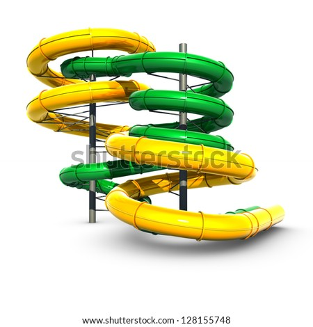 Colorful slides of the aquapark - stock photo