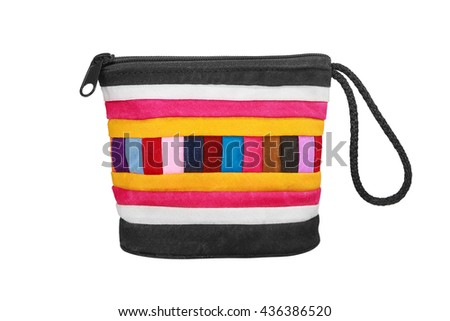 colorful small bag ,patterned textile bag isolated on white background - stock photo