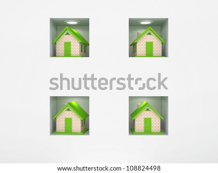 Colorful small houses.Isolated on white background.3d rendered. - stock photo