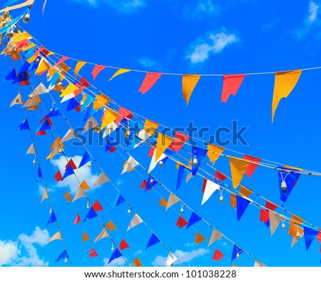 Colorful Small triangular decorative flags, pennons - stock photo