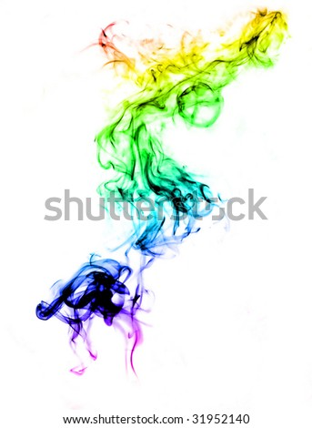 Colorful smoke abstract over white background