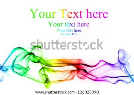 Colorful smoke clouds on white background - stock photo